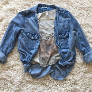 Distressed Chambray Button Up Shirt.